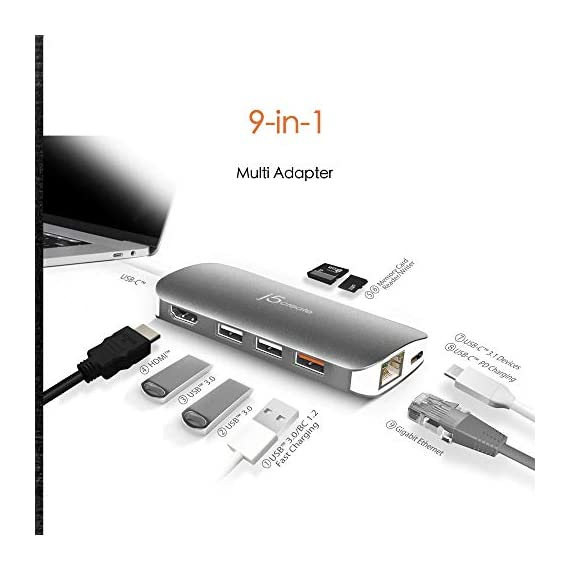 j5create USB-C 9-in-1 Multi Adapter Multi Adapter HDMI/Ethernet/USB 3.1, SD and MicroSD/PD 3.0   4K HDMI for MacBook… 6 The USB-C multi-adapter gives you 2 USB Type-A ports for additional peripherals and 1 USB Type-A port with BC 1.2 to fast-charge your mobile device. USB-C power delivery 3.0 provides charging power to the connected devices as well as data transfer USB 3.1 Gen 1 provides up to 5 Gbps transfer speed, which is 10x faster than USB 2.0