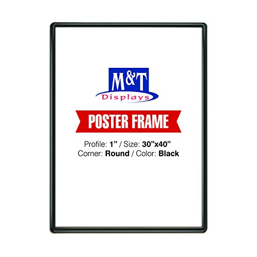 "M&T Displays Snap Frame 30x40 Poster Size 1"" Black, Round Corner, Front Loading"
