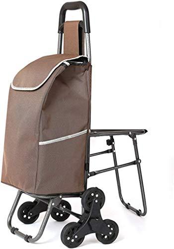 KANJJ-YU Con sillas, carrito de compras de escalada, carrito de compras antiguo, carro pequeño, carro, plegable, carro dibujado a mano, bolsa de compras impermeable portátil Alimentos