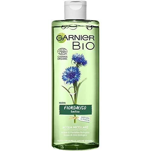 Garnier Bio Acqua Micellare Fiordaliso Lenitivo, Formula Arricchita con Acqua d'Orzo Biologico e Glicerina Vegetale, 400 ml