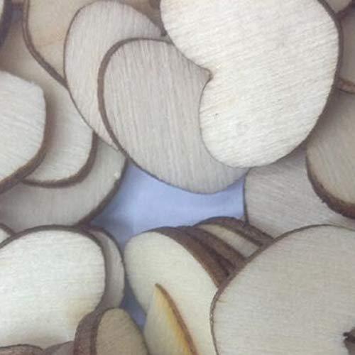 Heaviesk 50 PCS/Set Rustique en Bois en Bois Amour Forme De Coeur De Table De Mariage Scatter Décoration Artisanat DIY Outil Créatif Boutons