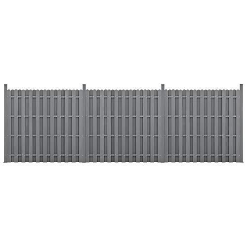 neu.holz] Kit de 3 Clôtures Barrière Brise Vue Brise Vent Bois Composite (WPC) Gris 185 x 562 cm