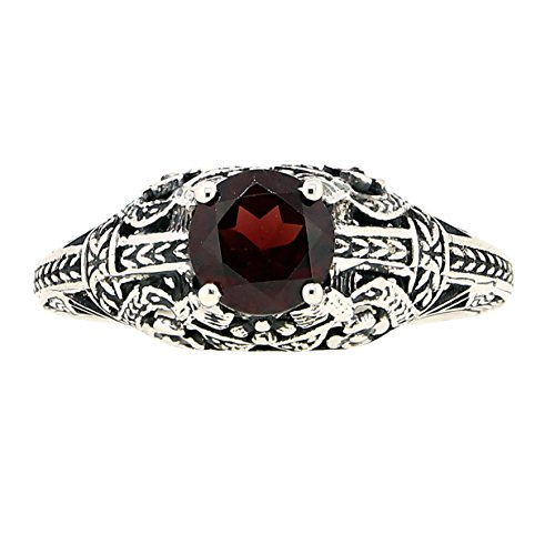 Antique Finished Sterling Silver Genuine Garnet Filigree Ring (1 CT.T.W)