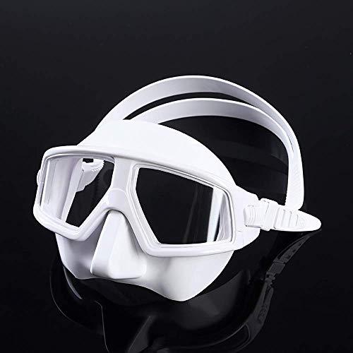 ZHUYUE Comfortabel Duikmasker Duikmasker Duikmasker voor Volwassen Jeugd Scuba Duikbril Grote 120 ° Breedhoek Full Face Snorkel Masker (Kleur: Wit, Maat : M)