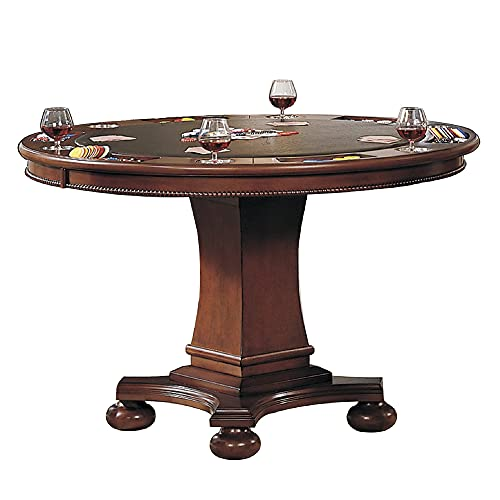Sunset Trading Bellagio Dining/Game Table, Reversible Poker Top with Cup Holders, Walnut