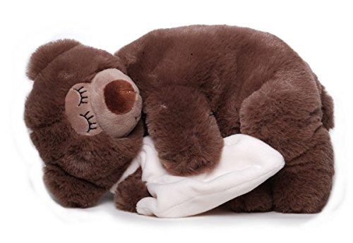 Inware 6483 - Schlafender Bär mit Schnuffeltuch, 25 cm, Kuscheltier