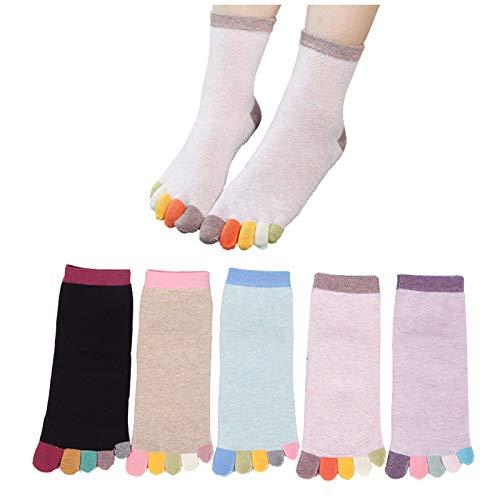QMMD 5 Pairs Womens Toe Socks Cotton Five Finger Running Socks Mini Crew Sport Socks, Socks for Running Athletic, Crew Novelty Liner Socks, Size 3-5,B‐5 pair