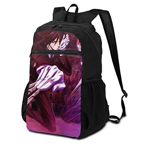 Jiadourun Schwarzer Butler Aufbewahrungstasche, faltbarer Rucksack, leicht, Mehrzweck-Rucksack, handlich, faltbar, Outdoor-Rucksack für Männer und Frauen