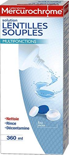 MERCUROCHROME - Solution Lentilles Souples - Nettoie, Rince et Décontamine les lentilles - Etui lentilles inclus - 360 ml