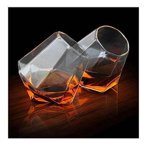 ZHFZD transparante glazen beker met ronde mond, whisky-bier-cocktail-glad creatief diamond wijnset (verpakking van 4 stuks)