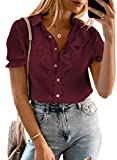 HAPPY SAILED Blusa para mujer, cuello en V, manga corta, blusa, elegante, de gasa, monocolor, parte superior de túnica, tallas S-XXL 1 rojo XL