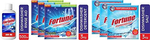 FORTUNE Dishwasher Set, Regular Combo – Dishwasher Detergent (3 Kg), Salt (3 Kg) & Rinse Aid (500 ml)