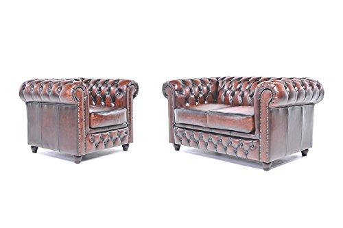 Originele Chesterfield bank en stoel - 1/2 zits - volledig handgewassen leer - antiek bruin