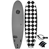 KONA SURF CO. Malibu Beginners Surfboard for Adults and Kids - Soft Board Foam Top Surfboard Foamie for Beach of Softboards - Includes Removable Fins and Leash in Grey sz:7ft 0in