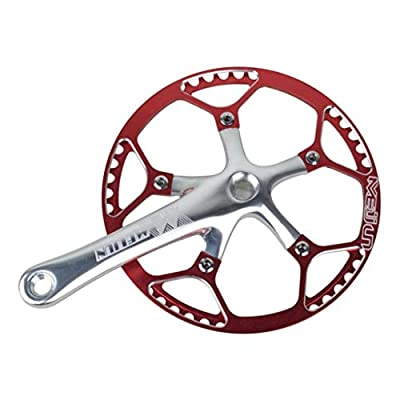 CUTICATE Performance Aluminum Alloy Single Speed Crankset & Crank Arm for Mountain Road Bike Fixed Gear Bicycle Folding Bicycle - Various Colors & Sizes - Silver Red, 53T
