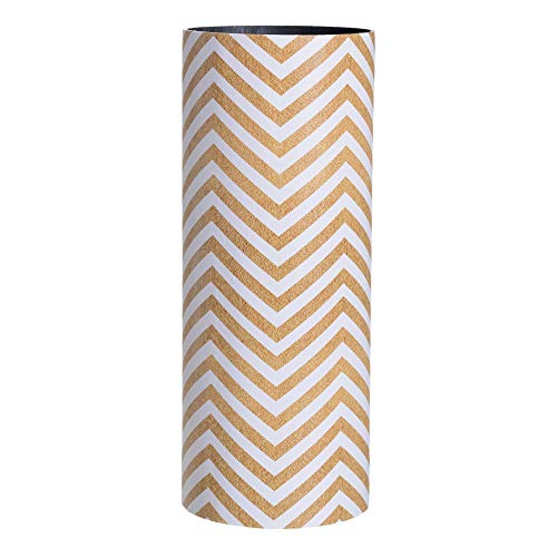Paragüero Blanco y Natural Lona DM geométrico de 50x20x20 cm - LOLAhome