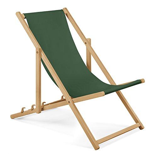 2xChaise longue de jardin en bois - Fauteuil Relax - Chaise de plage vert