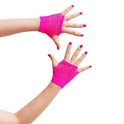 Oblique-Uniuqe® Netzhandschuhe in Neon Pink - Einheitsgröße
