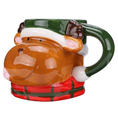SOIMISS Tazza di caffè di Natale 3D Tazza di Ceramica Renna di Natale Tazza di Latte Divertente