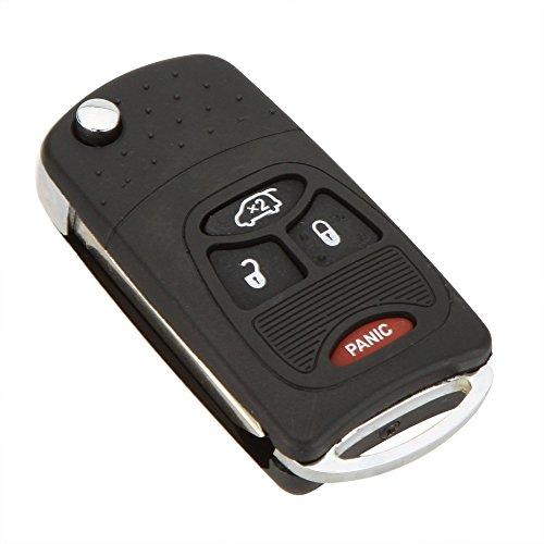 Katur Coque de clé télécommande pliable interchangeable avec lame vierge non coupée, pour Dodge Chrysler 3 + 1 boutons