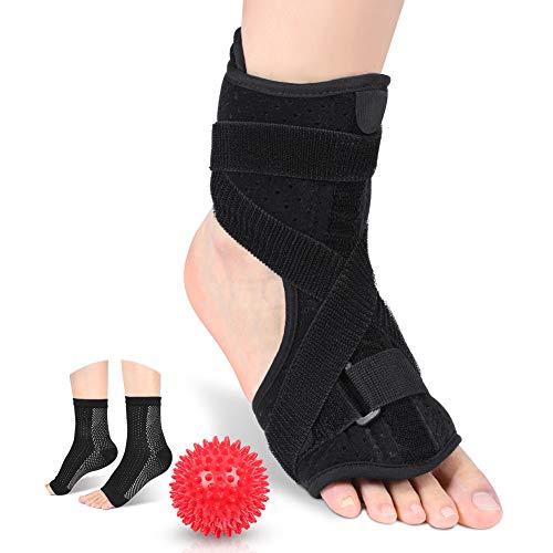Fascitis plantar Férulas nocturnas para la tendinitis de Aquiles Alivio del dolor, caída del pie Soporte ortopédico Apoyo para mujeres y hombres Se adapta para el pie izquierdo(Ball + Socks)