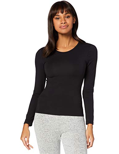 Iris & Lilly Camiseta Térmica Extra Cálida de Manga Larga Mujer, Negro (Black), M, Label: M