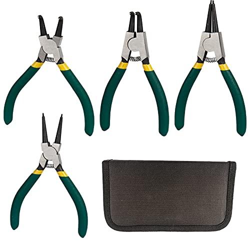 Gobesty Alicates para arandelas, juego de alicates para arandelas de 4 piezas Alicates para anillos de presión, mangos antideslizantes de 125 mm