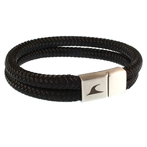 WAVEPIRATE® Segeltau-Armband Tarifa ST Schwarz 23 cm Edelstahl-Verschluss in Geschenk-Box Surfer Männer Herren