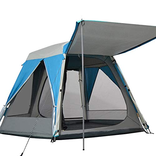 Tent 5-8 people multi-person double-layer thickening automatic hexagonal outdoor (Color : Blue)