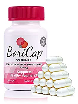 BoriCap Boric Acid Suppositories Contain Only Boric Acid Gelatin Capsule Helps Maintain Vaginal Health Easy to Insert Made in The USA 30 Capsules
