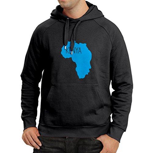 Sweatshirt à Capuche Manches Longues Sauver Le Kenya - Chemise Politique, énonciations de la Paix (XX-Large Noir Bleu)