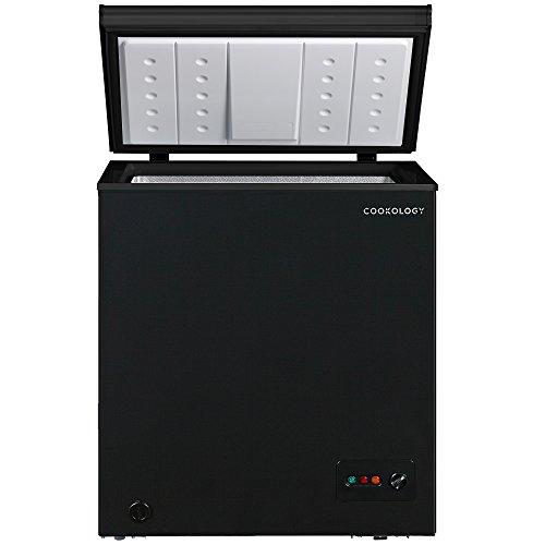 Cookology CCF142BK Black Outbuilding Chest Freezer, 142 Litre 73cm wide
