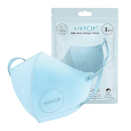 Airpop Kids Reusable Washable Face Mask 4 Pack, 4-Layer Face Coverings, Contoured Fit, Lightweight Design, Kids Face Masks for Repeated Wear, 4 Pack - Blue