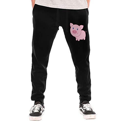 Cartoon Pig Sweatpants Jogger Pant Men Fleece Sweatpants for Outdoor Training Jogger Black