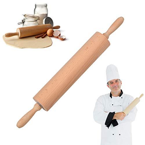 Mattarello Legno Mattarello Professionale Mattarello in Legno di faggio per Fare Pasta di Zucchero, Ravioli, Biscotti, Tortellini, Dolci e Pizza, Pasta(39CM * 6CM)