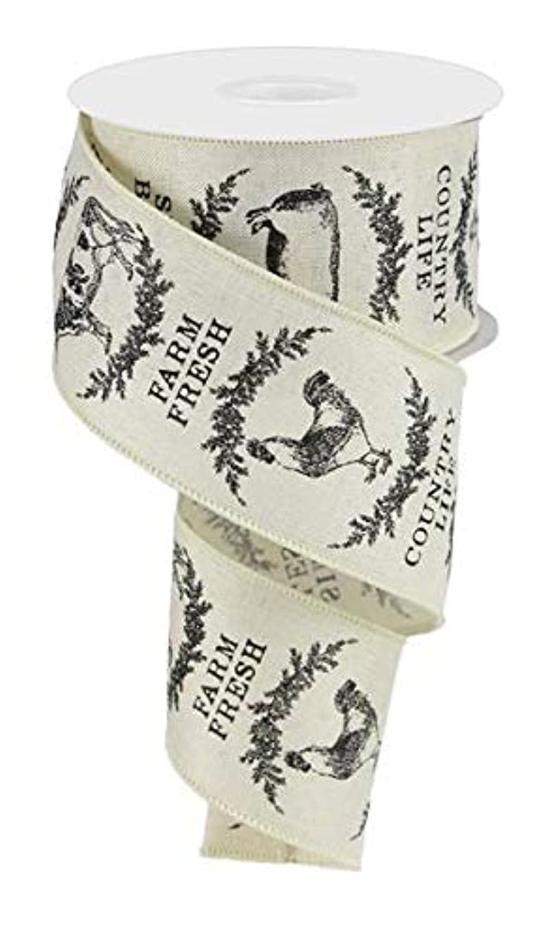 Farmhouse Animals Canvas Wired Edge Ribbon - 2.5