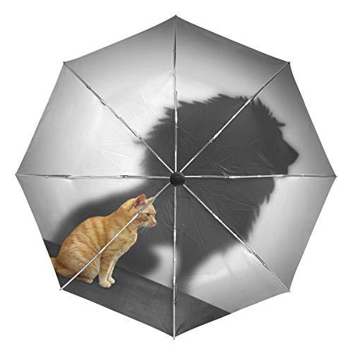 Wamika - Paraguas automático para Gato, diseño de león, Resistente al Viento, Resistente al Agua, protección UV, 3 Pliegues