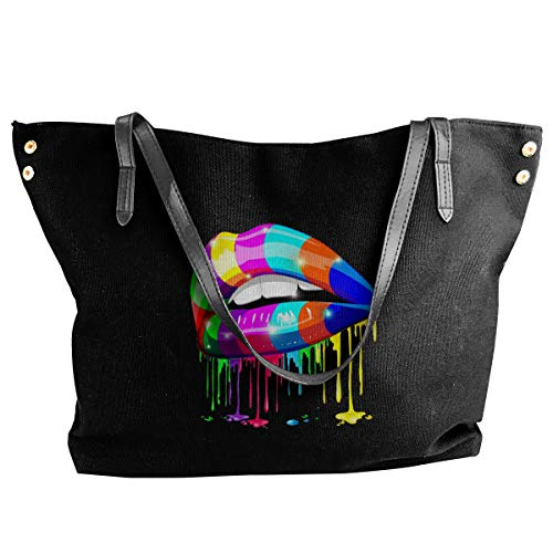 XY Shop Psychedelic Art Lip Cool Women's Tote Bags Canvas Shoulder Bag Hanbag