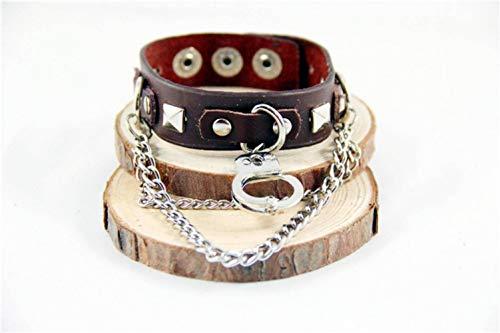 Thumby Unisex Armbanden Punk Stijl Armband Handboeien d Gesp Ronde Rivet Leer Gepersonaliseerde Armband Armband Koffie