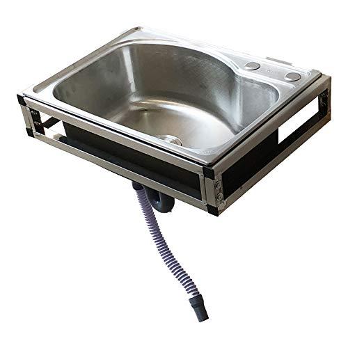 HomeLava Ausgussbecken Edelstahl Wandmontage Waschbecken 58 x 43 x 21 cm Waschtrog mit Überlauf und Flexibler Ablaufschlauch, Spülbecken inkl. Halterung, Waschraum