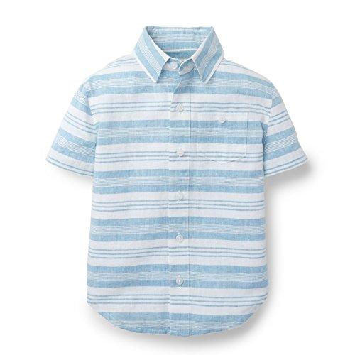 Hope & Henry Boys Linen Striped Short Sleeve Shirt
