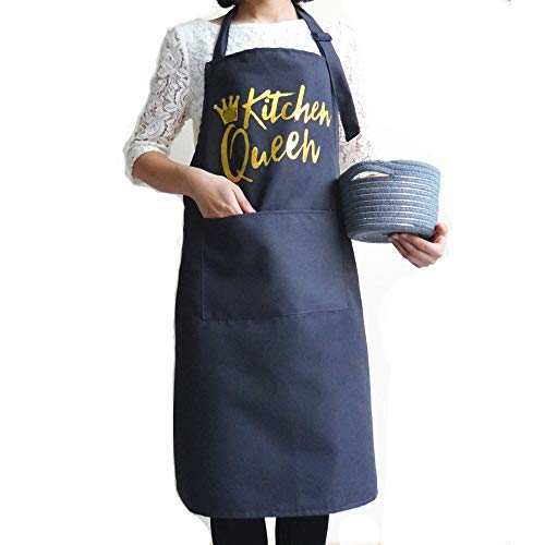 Funny Grey Aprons for Men and Women Couple with Pockets, Cooking Baking Apron for Chef