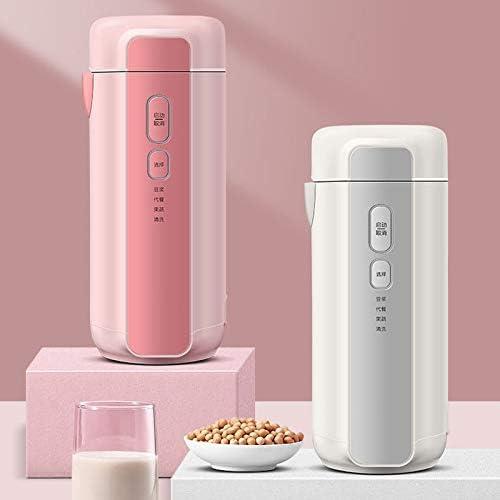 BMMMZ Chauffable Mini Soymilk Maker Portable Multifonction Soymilk électrique Juicer Alimentaire Broyage Chauffage Processeur (Color : Pink) White