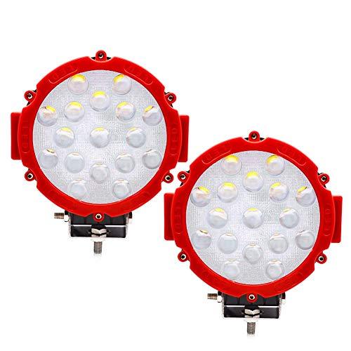 Safego 2pcs Focos LED, 51W 4080LM Faros Trabajo LED Spot 12V-24V Barra LED IP68 Impermeable Luz de Niebla para Coche,SUV, UTV, ATV,Off-road,Camión,Moto,Barco - Garantía de 1 años(Concha roja)
