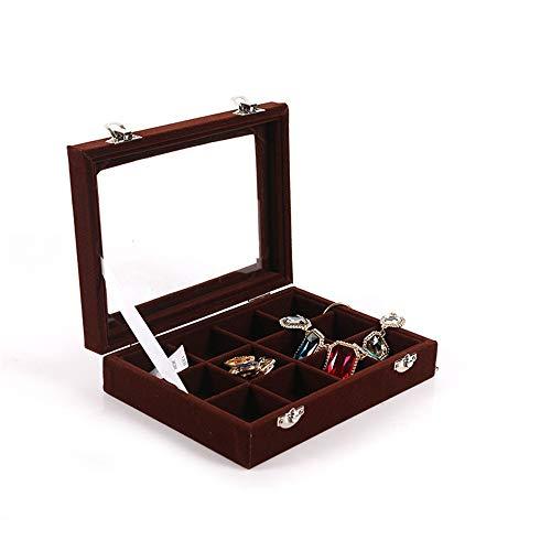 Schmuckkästchen, Velvet Clear Lid 12 Grid Schmuckschale Showcase Display Aufbewahrung Ringe Ohrringe Armband für Ringe, Ohrringe, Halskette, Armbänder ( Farbe : Kaffee , Größe : 20*15*4.5CM )