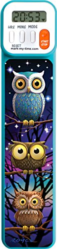 Mark-My-Time 3D Owls Digital Bookmark and Reading Timer - Blue