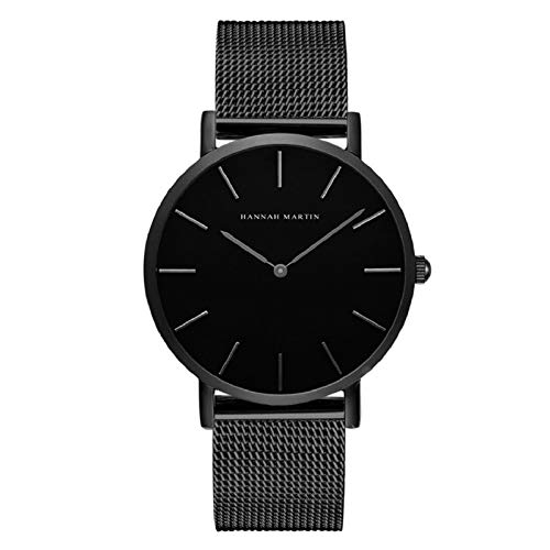Hombre Relojes, L'ananas 2020 Estilo Minimalista Impermeable Anolog Negocio Cuarzo Malla Acero Inoxidable Reloj de Pulsera con Caja de Regalo Wristwatch (Negro)
