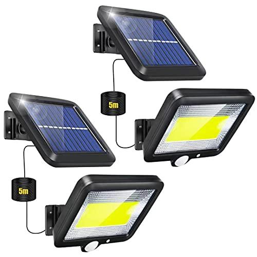 Luce Solare LED Esterno, 2 Pezzi Faretti Solari a LED da Esterno con Sensore di Movimento 120° Illuminazione IP65 Impermeabile 3 Modalit Lampada Energia Solare da Esterno Faro per Giardino
