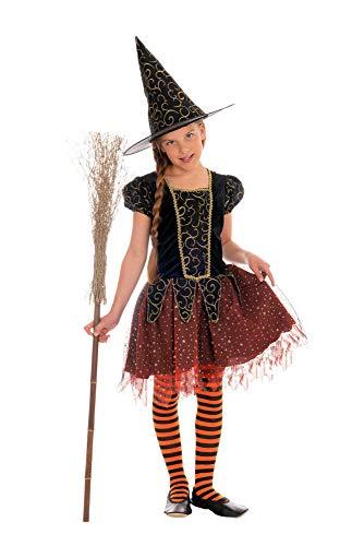 Magicoo Sternenhexe Hexenkostüm Kinder Mädchen orange-schwarz-Gold - Kleid & Hut - Gr 92 bis 140 - Halloween Hexe-Kostüm Kind (110/116)