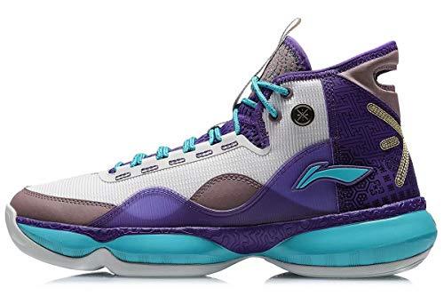 Tênis de basquete masculino LI-NING Wade Shadow On Court acolchoado forro usável nuvem esportivo tênis fitness ABPQ007, Wow Shadow 2 Purple, 10